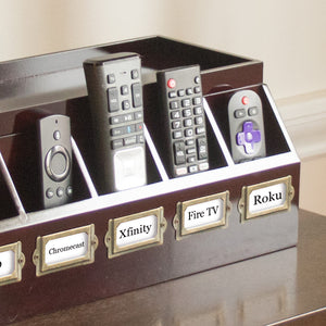 Remote Control and Cord Hideaway Station - Cherry Wood Veneer - Great Useful Stuff
