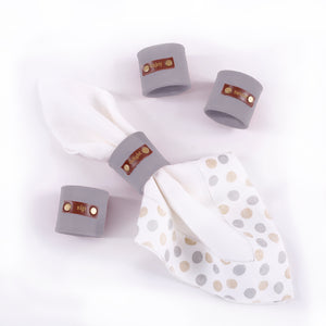 Leather & Suede Napkin Rings (Set of 4) - Great Useful Stuff