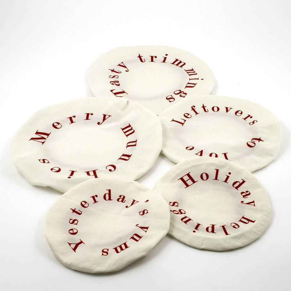 Set of 5 - Tasty Trimmings Fabric Holiday Bowl Covers
