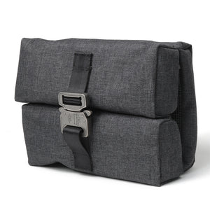 Dark gray polyester woven bag with authentic cobra buckle closure