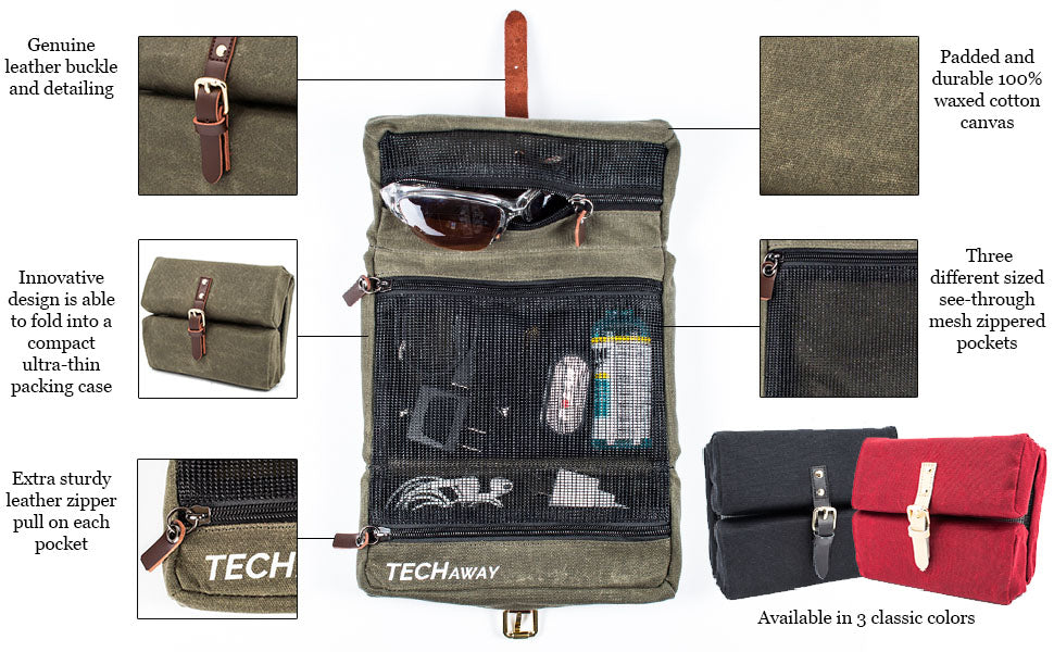 Laptop adapter stored in center section visible in see-through mesh pocket of rubberised mesh and reflective trim and leather zipper pulls three sections for cords and plugs