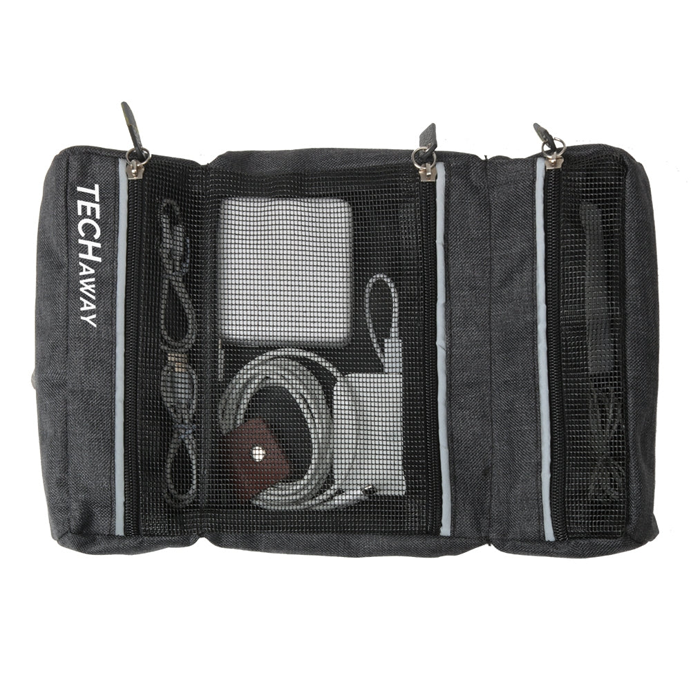 Laptop adapter store din center section visible in see-through mesh pocket of rubberised mesh and reflective trim and leather zipper pulls three sections for cords and plugs