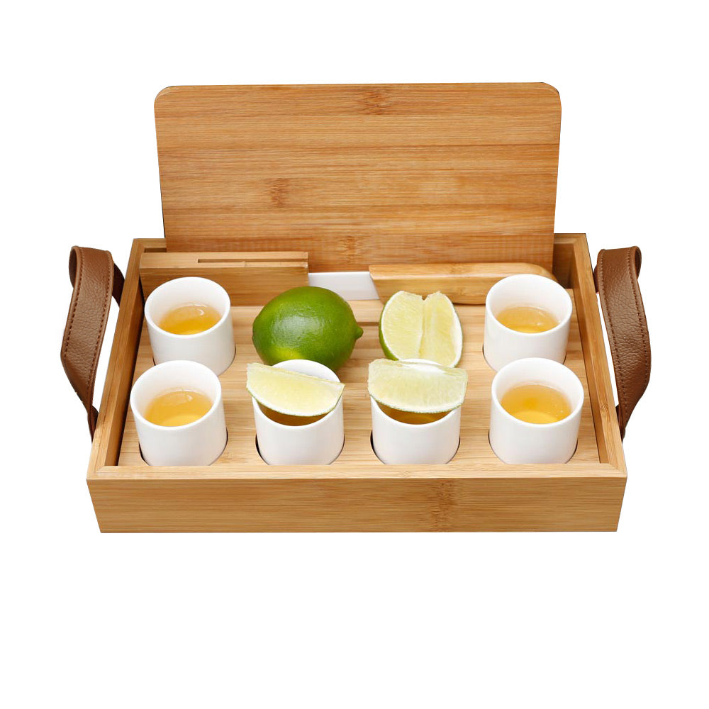 Load image into Gallery viewer, Bamboo Tequila Tasting Set with Cutting Board & Ceramic Knife - Personalized - Great Useful Stuff