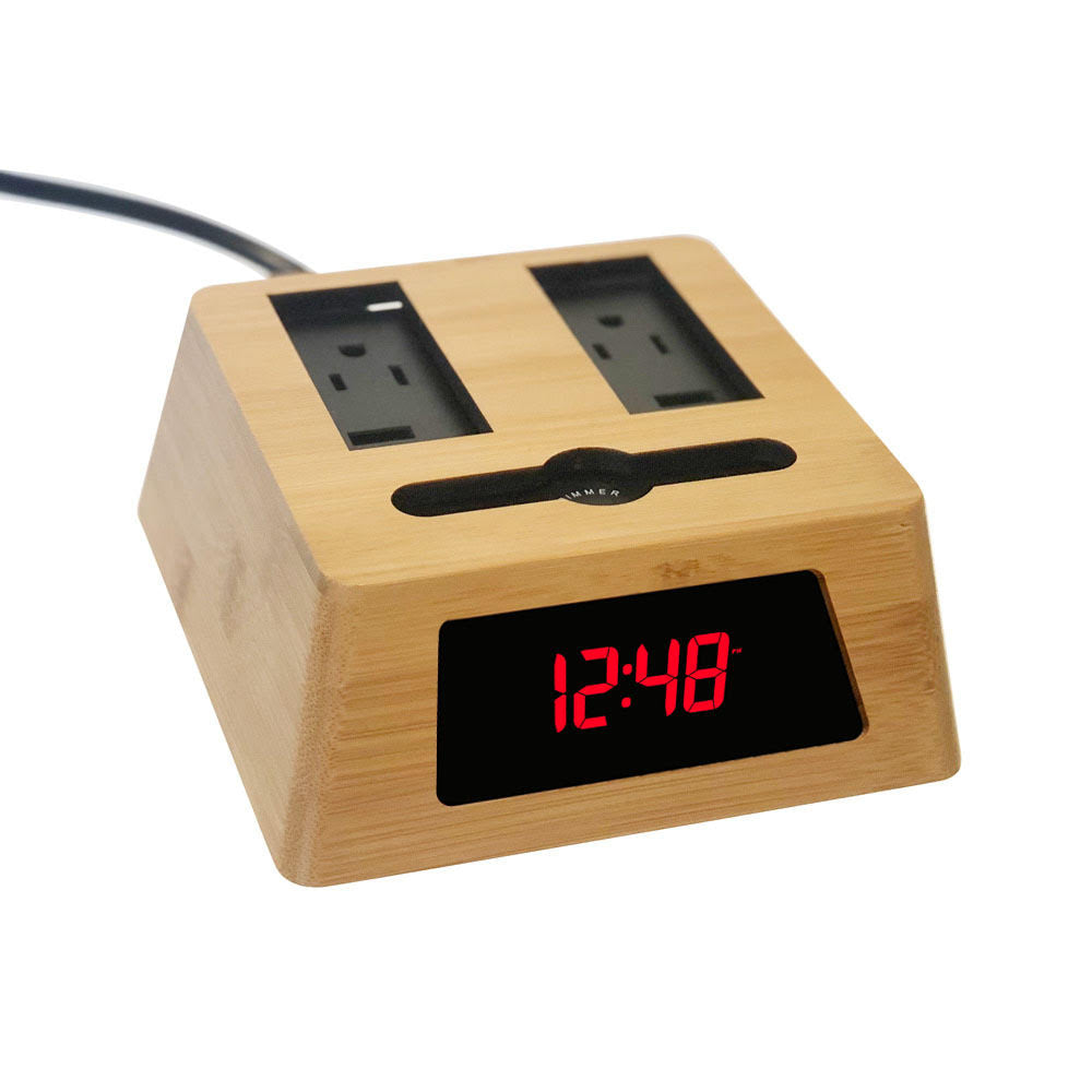 Load image into Gallery viewer, New! Power Hub Ultra with Alarm Clock - Charge up to 6 devices using 1 wall outlet - Great Useful Stuff - Bamboo