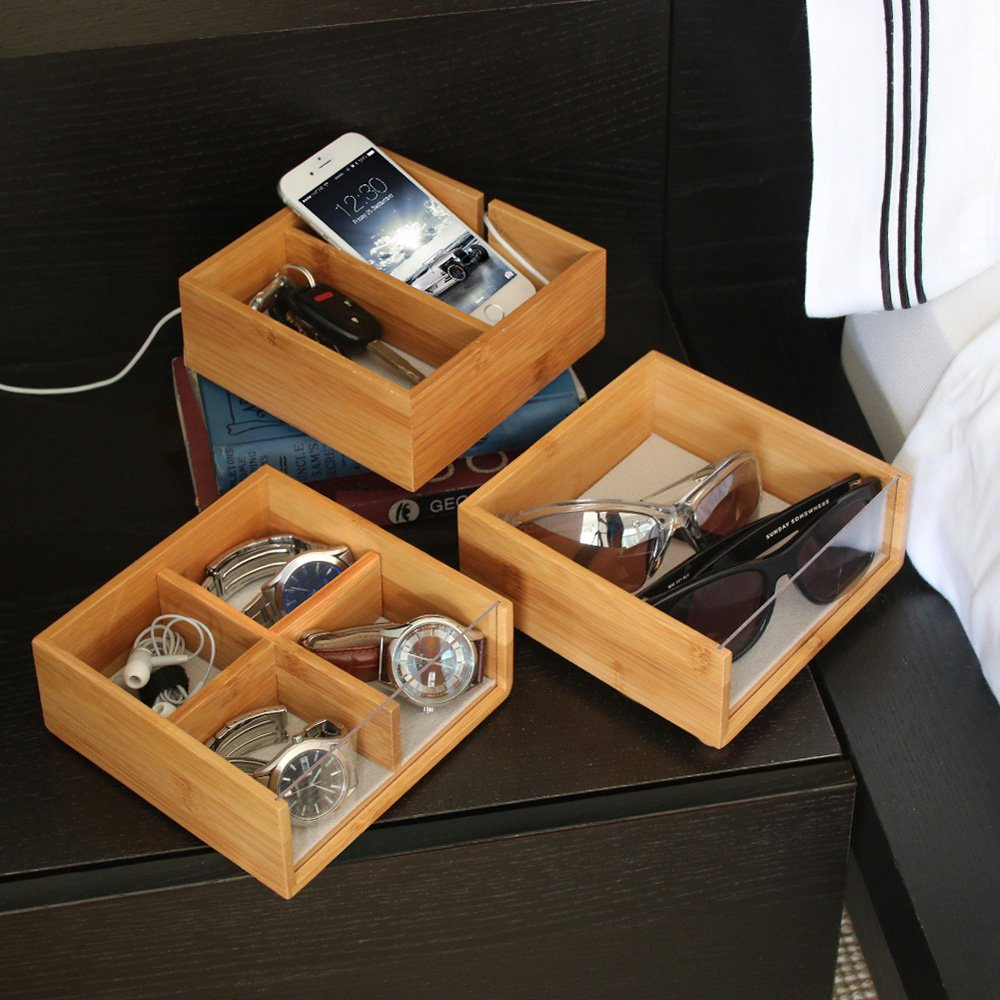 Stackable 3-Tiered Bamboo & Acrylic Valet with Phone Cradle