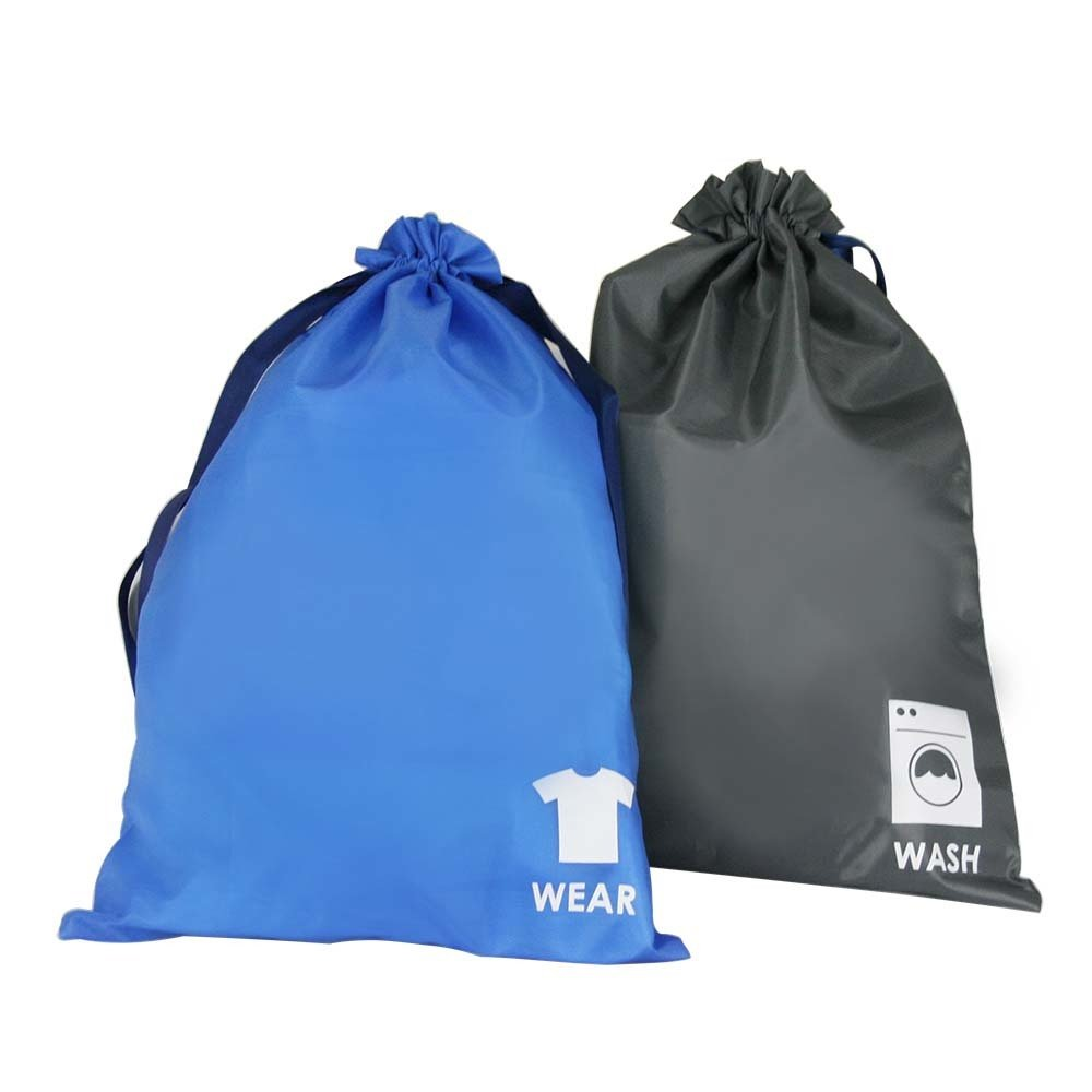 Wash and Wear Packing Bags with Drawstring Closures - Set of 2