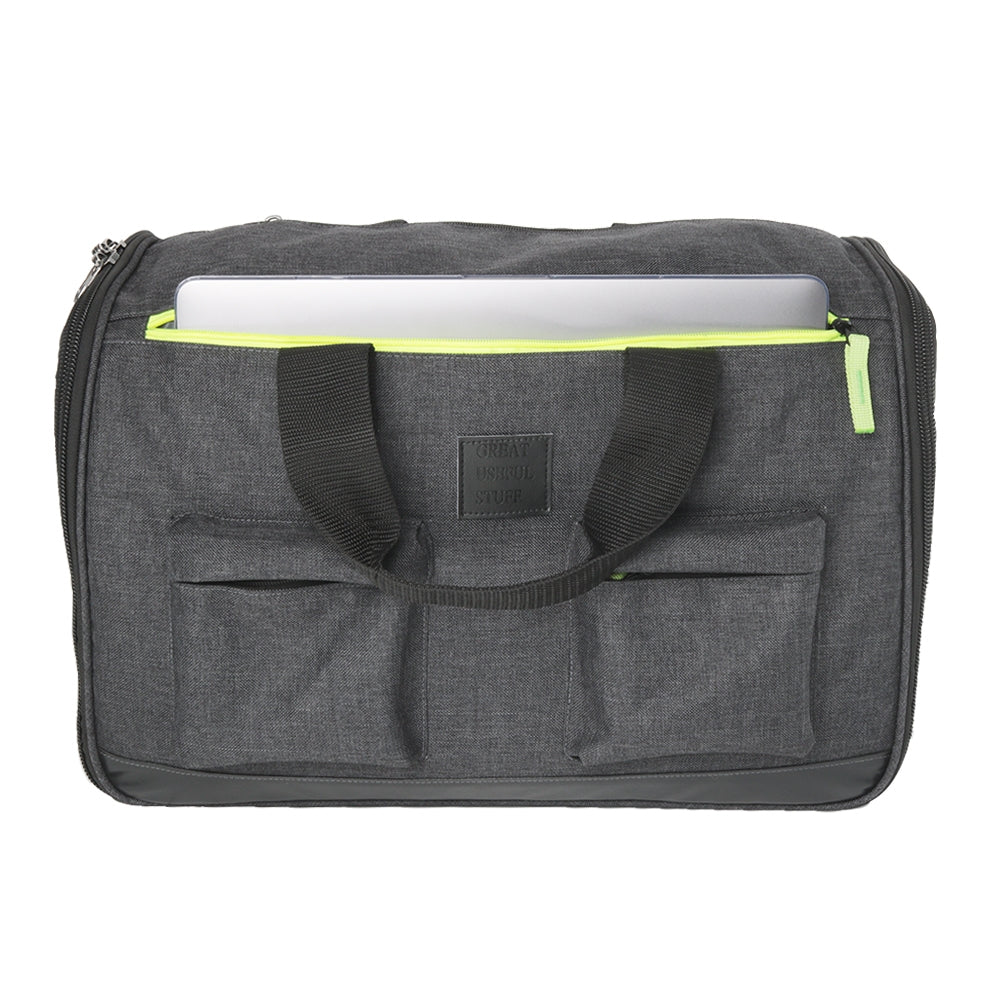 gray bag with laptop sticking out of pocket