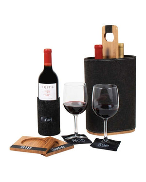 Felt Wine Bottle Cozy with Chalkboard Labels (Set of 2) - Great Useful Stuff