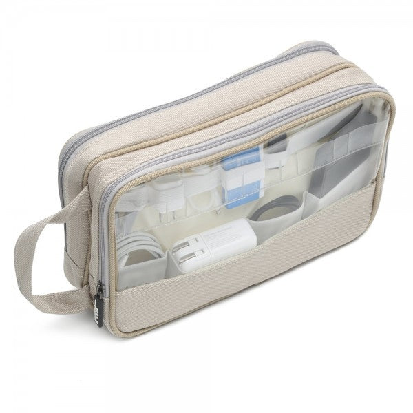 Linen Cord pouch with 22 elastic bands and two zippers and clear viewing windows labelled