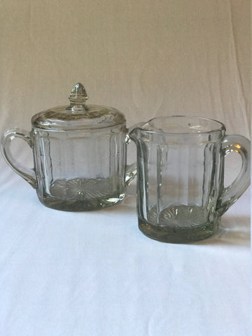 Pressed Glass Cream and Sugar Containers