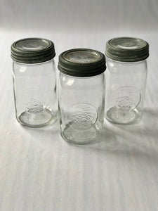 Set of 3 Vintage Glass Top Mason Jars
