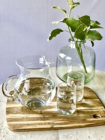 Vintage Etched Glass Water Pitcher & Glass Set