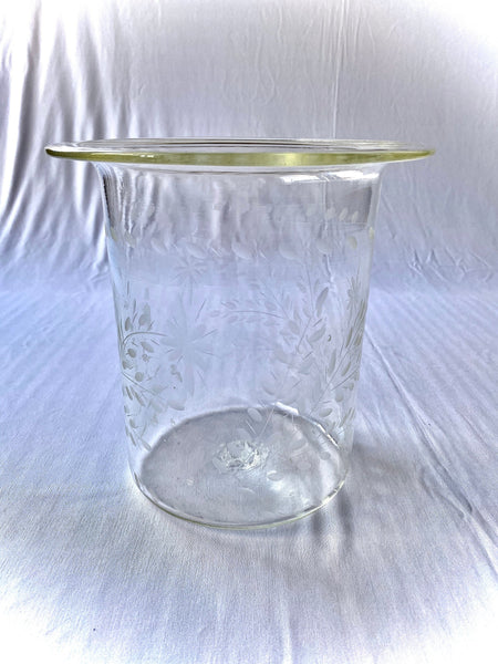 Vintage Etched Glass Hurricane Candle Holder