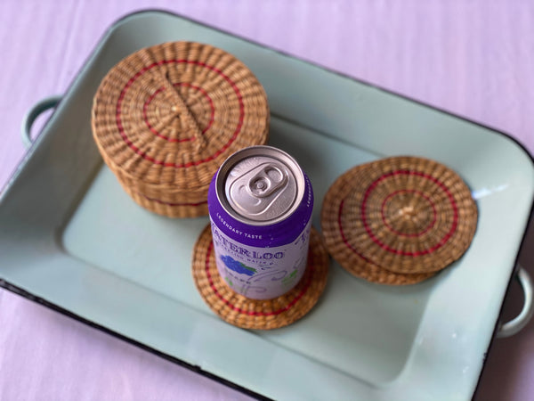 Vintage Wicker Coaster Set