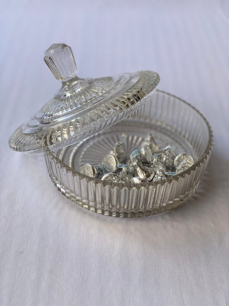 Vintage Pressed Glass Dish with Lid
