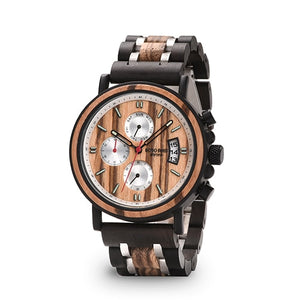 BOBO BIRD Men's Wood Watch-Chronograph Military-Stainless Steel