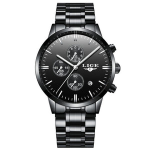 LIGE Steel Quartz Watch with Date - Mesh Strap and Waterproof