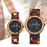 BOBO BIRD Quartz Wood watch for Couples with Date and Wooden Gift Box