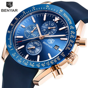 2019 BENYARN Men's Silica Gel Band Quartz Watch - Waterproof