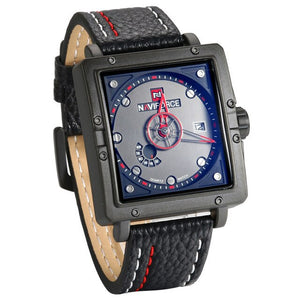 Square Men's Watch - Quartz, Analog with Date and Leather Band