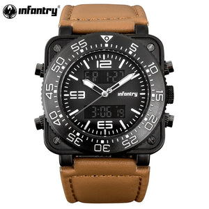 INFANTRY Military Men's Watch - LED - Digital - Quartz with Leather Band