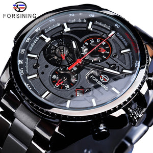 Forsining Three Dial Calendar Display Black Stainless Steel Wrist Watch
