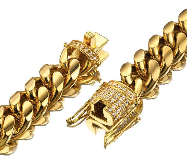465a51dd2e481 18k Gold Plated 10mm Miami Cuban Link with CZ Diamond Clasp Lock