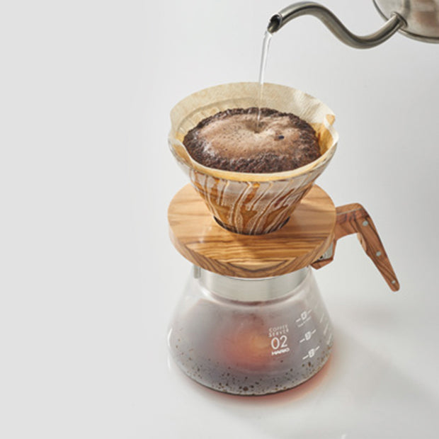 V60 Glass & Olive Wood Coffee Dripper/Pour Over