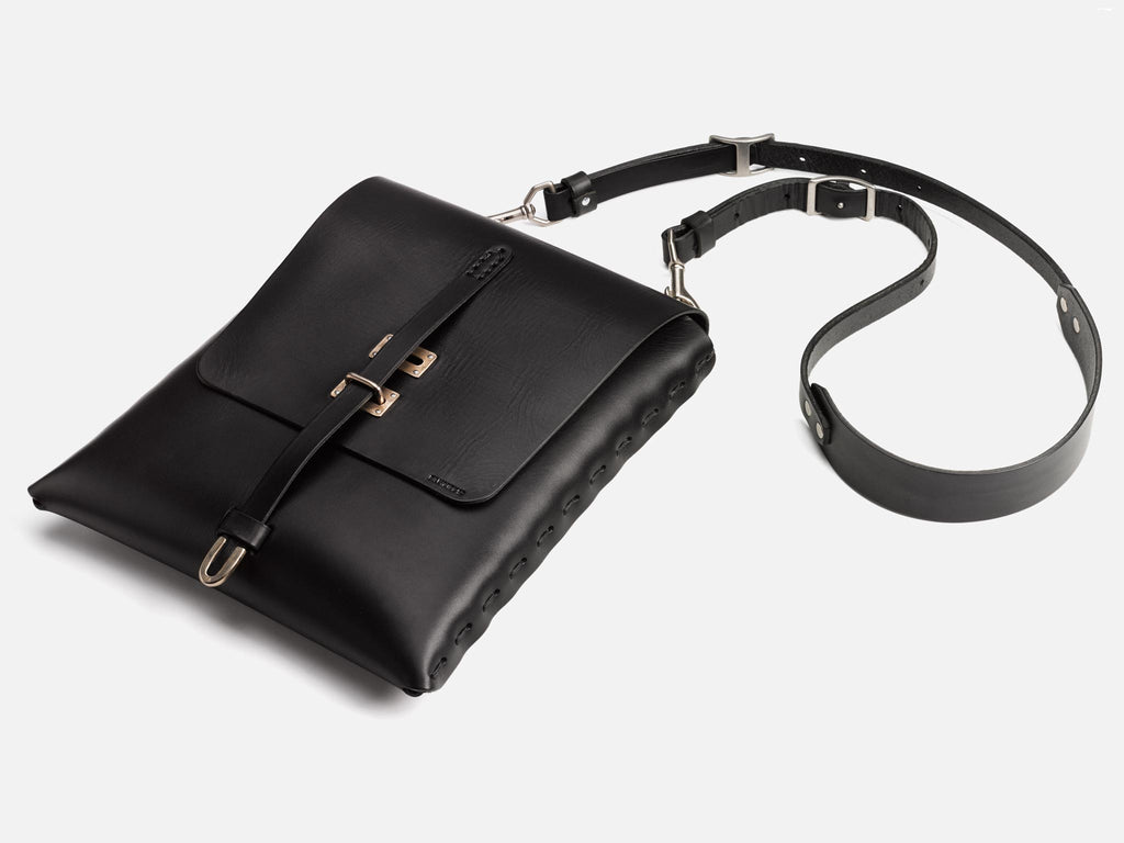 Billykirk crossbody satchel in black, full grain leather. Made by Amish Artisans, this piece has a lifetime guarantee