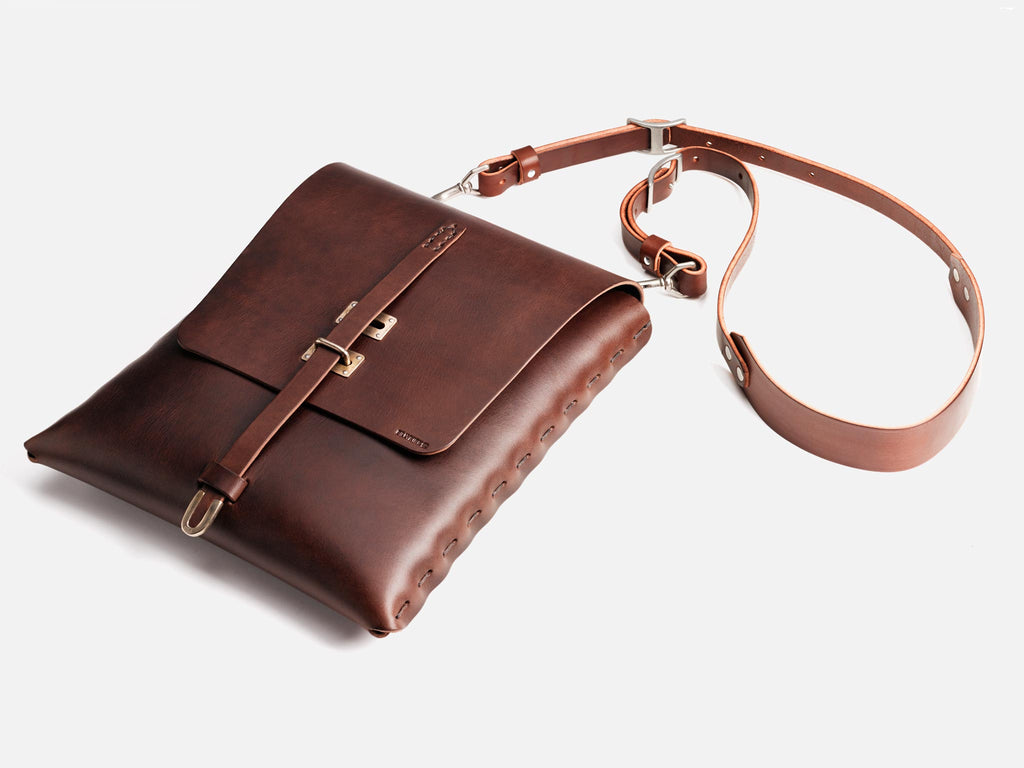 Billykirk crossbody satchel in brown, full grain leather. Made by Amish Artisans, this piece has a lifetime guarantee