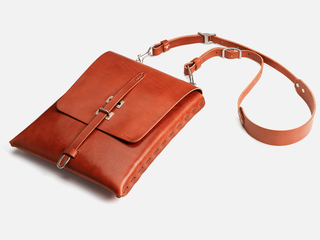 Billykirk crossbody satchel in tan, full grain leather. Made by Amish Artisans, this piece has a lifetime guarantee