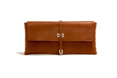 No. 124 Large Leather Clutch, Tan