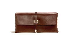 No. 124 Large Leather Clutch, Brown
