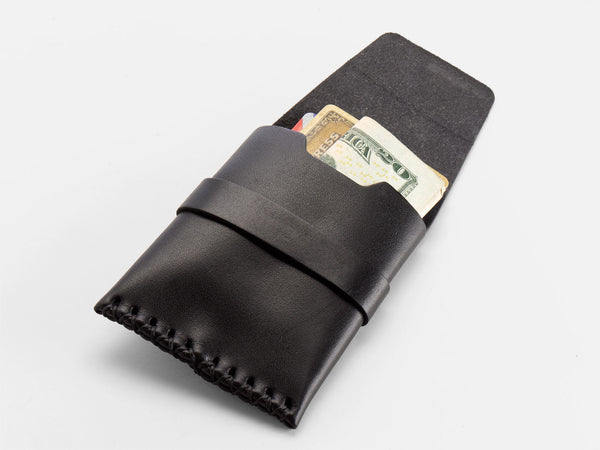 No. 155 Card Case with Flap, Black