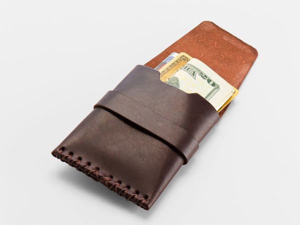 No. 155 Card Case with Flap, Brown