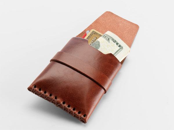 No. 155 Card Case with Flap, Tan