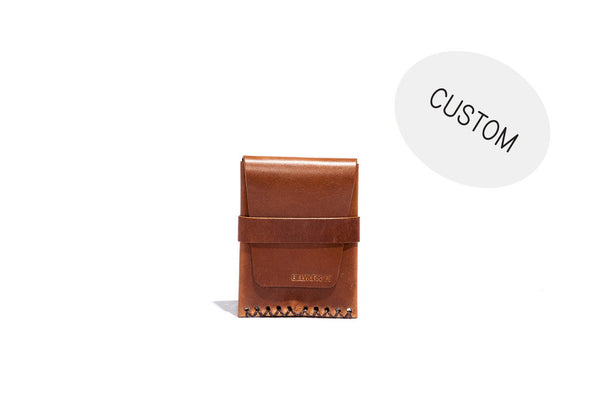 No. 155 Custom Card Case With Flap, Tan