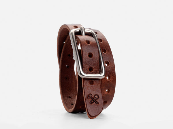 No. 260 Double Wrap Cuff With Holes, Brown