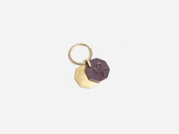 No. 403 Octagon Key Tag With Brass Octagon, Brown