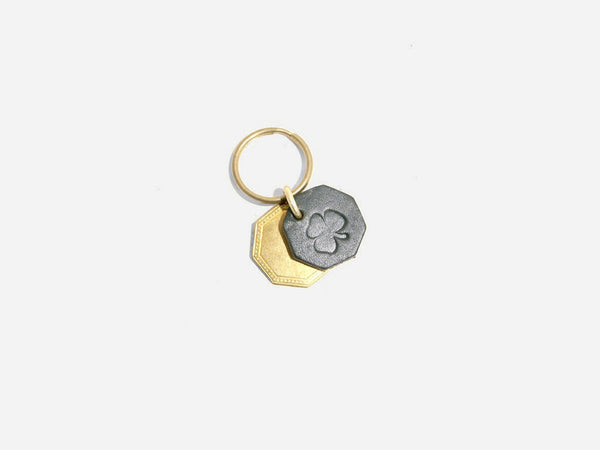 No. 403 Octagon Key Tag With Brass Octagon, Shamrock