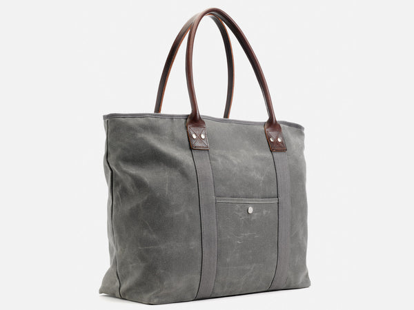 No. 296 Large Waxed Canvas Tote, Ash Waxed