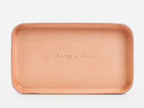 "No. 309 Leather Valet Tray, ""Change is Good"""