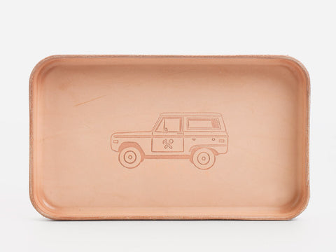 No. 309 Ford Bronco Vegtable Tan Leather Valet Tray Front