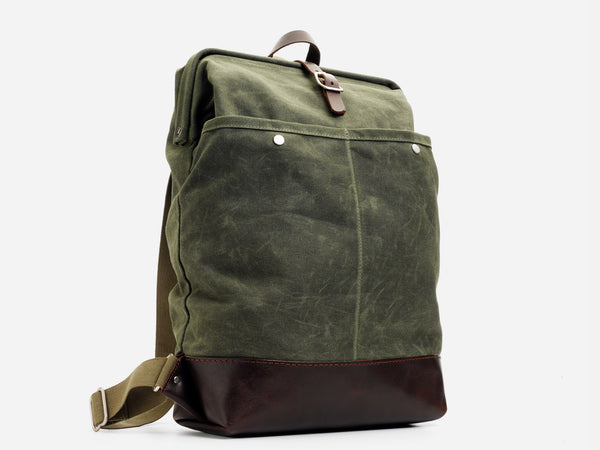 No. 483 Carryall Backpack, Olive Waxed