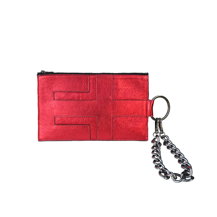 Pouch in Metallic Crimson