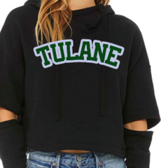 Cropped Hooded Sweatshirt (cut out Sleeve)