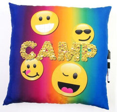 Camp emoji pillow