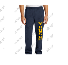 Y'Rush Open Bottom Sweatpants with Pockets. All orders will be delivered to the camp.