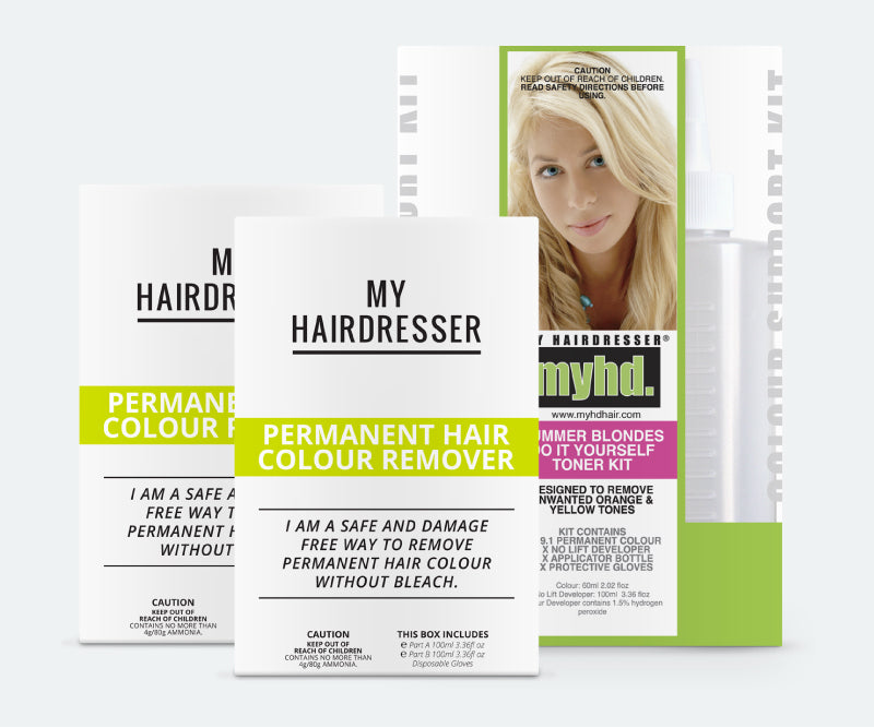 Permanent Hair Colour Remover 2 Pack + Toner Kit