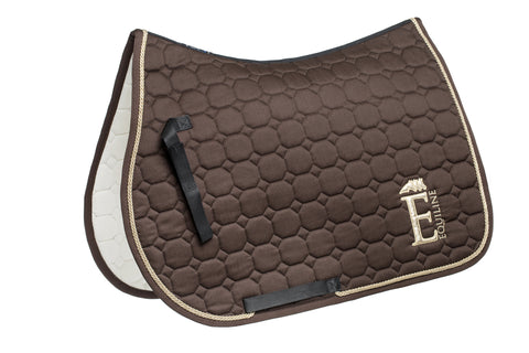 Equiline Harris Saddle Blanket with Embroidery Brown- Dressage